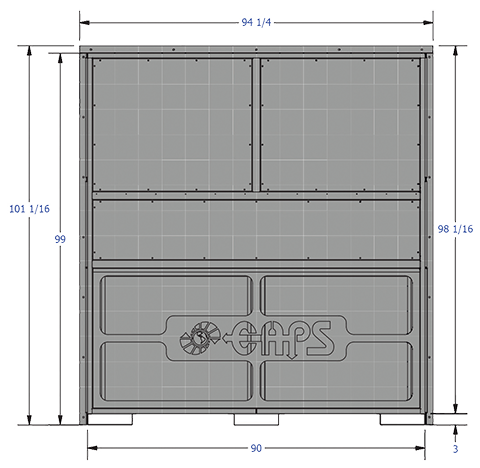 CAPS 20-40 ton Wall Mount HVAC drawing of front view