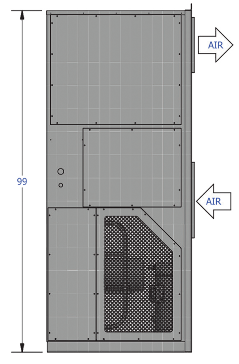 CAPS 20-40 ton Wall Mount HVAC drawing of side view