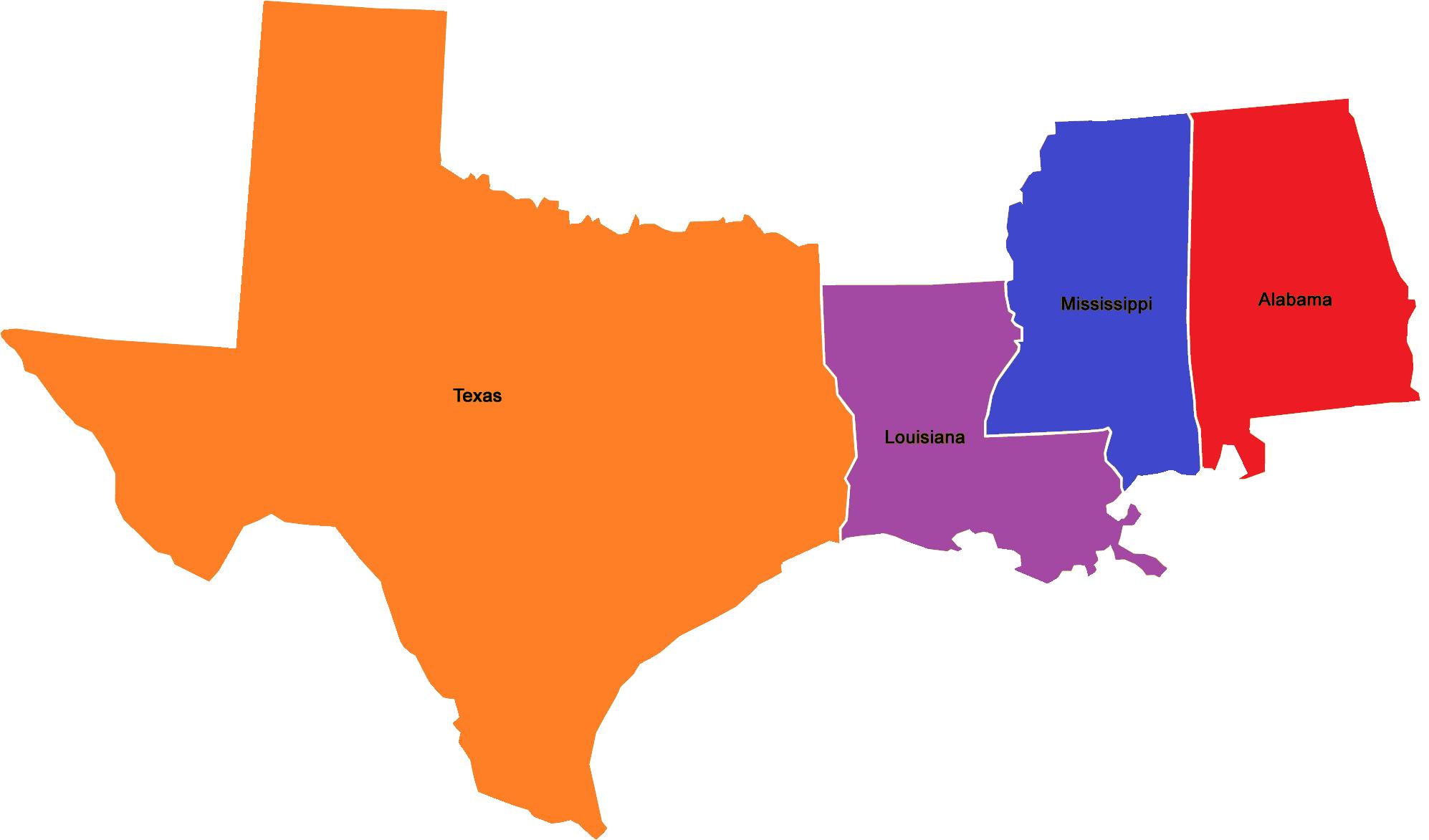 Map - Texas - Louisiana - Mississippi - Alabama