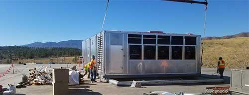 HVAC unit on crane
